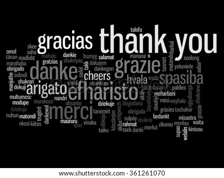 Concept or conceptual abstract thank you word cloud in different languages or multilingual for education or Thanksgiving Day metaphor to appreciation, multicultural, friendship, tourism travel