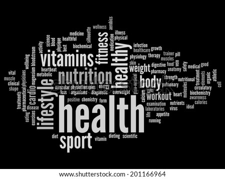 Concept or conceptual abstract white word cloud on black background as metaphor for health, nutrition, diet, wellness, body, energy, medical, fitness, medical, gym, medicine, sport, heart or science