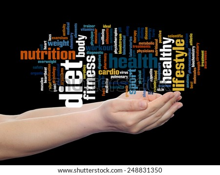 Concept or conceptual abstract word cloud man hand on black background, metaphor to health, nutrition, diet, wellness, body, energy, medical, fitness, medical, gym, medicine, sport, heart or science - stock photo