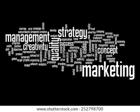 Concept or conceptual abstract word cloud on black background as metaphor for business, trend, media, focus, market, value, product, advertising or customer. Also for corporate wordcloud - stock photo