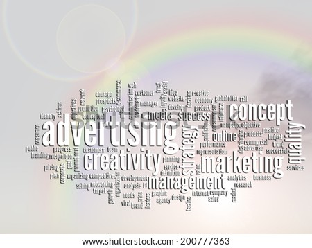 Concept or conceptual abstract word cloud, rainbow sun background, metaphor for business, trend, media, focus, market, value, marketing, product, advertising or customer. Also for corporate wordcloud