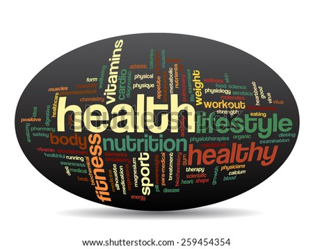 Concept or conceptual abstract word cloud with a hand on touch screen on black background for health, nutrition, diet, wellness, body, energy, medical, fitness, medical, gym, medicine, sport or heart - stock photo