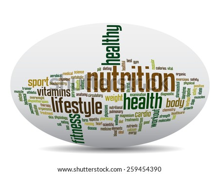 Concept or conceptual abstract word cloud with a hand on touch screen on white background for health, nutrition, diet, wellness, body, energy, medical, fitness, medical, gym, medicine, sport or heart - stock photo