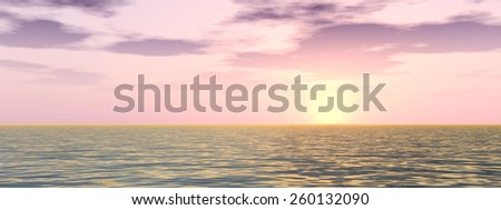 Concept or conceptual beautiful seascape with water and waves and a sky with clouds at sunset banner as a metaphor for nature, romantic, dramatic, light, evening, peace, atmosphere or weather - stock photo