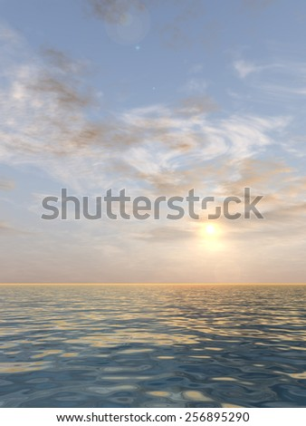 Concept or conceptual beautiful seascape with water and waves and a sky with clouds at sunset as a metaphor for nature, romantic, dramatic, light, evening, morning, peace, atmosphere or weather - stock photo
