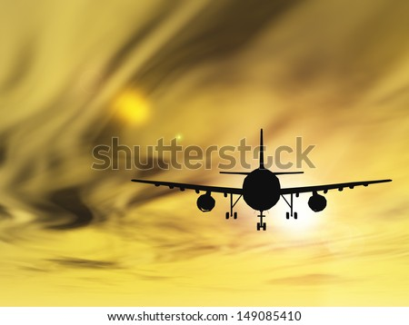 Concept or conceptual black plane, airplane or aircraft silhouette flying over sky at sunset or sunrise background,metaphor to air,travel,transportation,jet,flight,transport,business,vacation,tourism - stock photo