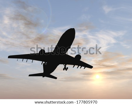 Concept or conceptual black plane, airplane or aircraft silhouette flying over sky at sunset or sunrise background, for air, travel, transportation, jet, flight, transport, business, vacation, tourism