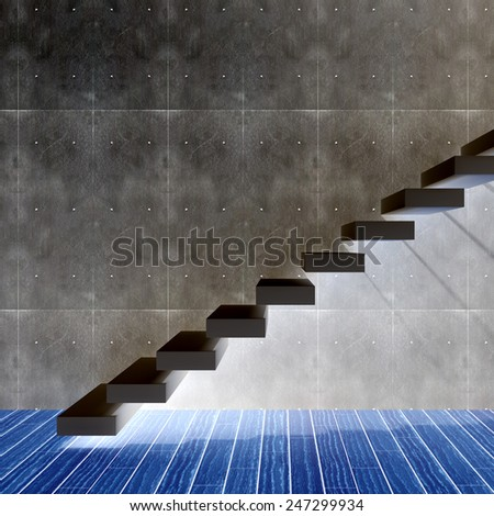 Concept or conceptual black stone or concrete stair or steps near a wall background with wood floor, metaphor to architecture, success, climb, business, staircase, rise, achievement, growth or future - stock photo