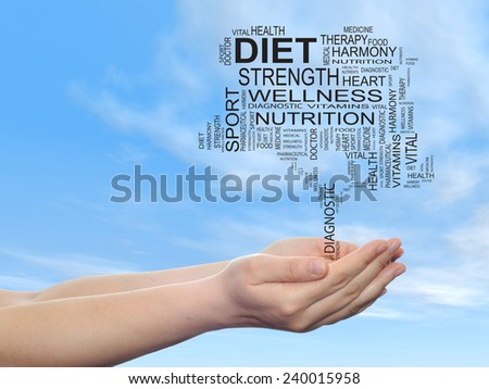 Concept or conceptual black text word cloud as tree in man or woman hand on blue sky  background, metaphor to health, nutrition, diet, wellness, body, energy, medical, sport, heart or science - stock photo