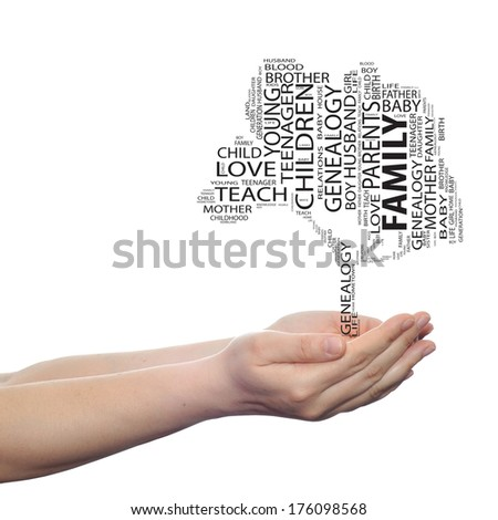 Concept or conceptual black text word cloud or tagcloud as a tree on man or woman hand isolated on white background, metaphor to child, family, education, home, love and school learn or achievement - stock photo
