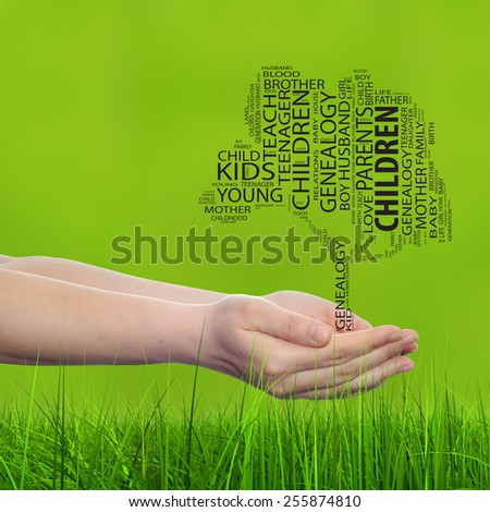 Concept or conceptual black text word cloud tagcloud, tree man or woman hand on blur green background and grass, metaphor to child, family, success, education, home, love and school learn achievement - stock photo