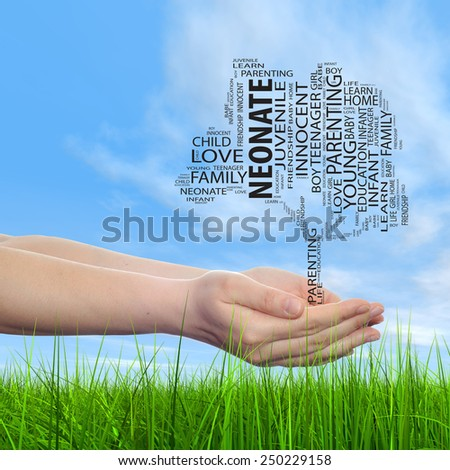 Concept or conceptual black text word cloud tagcloud, tree on man or woman hand on blue sky background and grass, metaphor to child, family, success, education, home, love and school learn achievement - stock photo