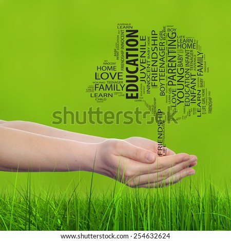 Concept or conceptual black text word cloud tagcloud, tree on man or woman hand on green blur background and grass metaphor to child, family, success, education, home love and school learn achievement - stock photo
