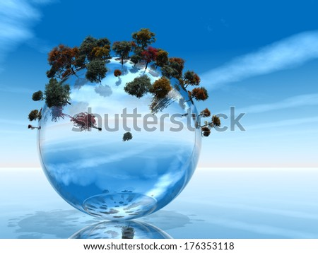 Concept or conceptual blue glass or water ecology symbol with trees growing over a sky background - stock photo