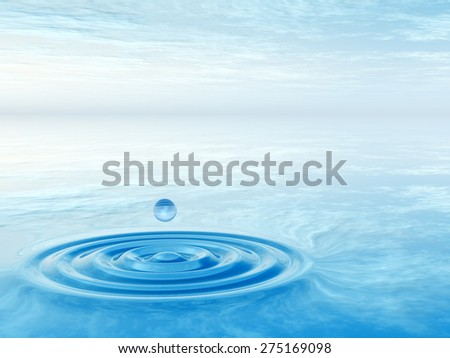 Concept or conceptual blue liquid drop falling in water with ripples and waves background, metaphor to nature, natural, summer, spa, drink, cool, business, environment, rain or health design - stock photo