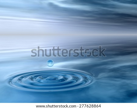 Concept or conceptual blue liquid drop falling in water with ripples and waves background metaphor to nature, natural, summer, spa, drink, cool, business, environment, rain or health design