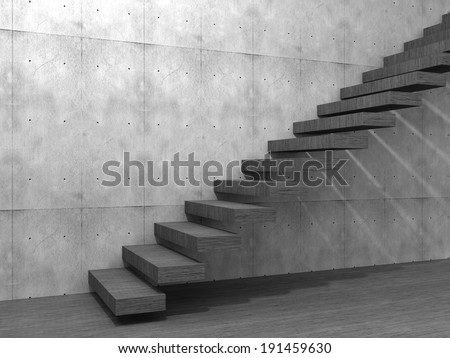 Concept or conceptual brown wood or wooden stair or steps near a wall background on  floor, metaphor to architecture, success, climb, business, staircase, rise, achievement, growth, hope or future