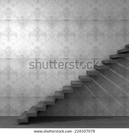 Concept or conceptual brown wood or wooden stair or steps near a wall background on  floor, metaphor to architecture, success, climb, business, staircase, rise, achievement, growth, hope or future - stock photo