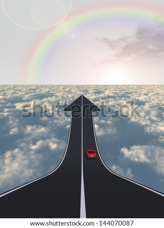 Concept or conceptual business arrow road with a car driving pointing up above the clouds in the sky rainbow background,for  challenge,success,growth,future,progress,upward,recovery,improve or develop