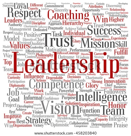 Concept or conceptual business leadership or management square word cloud isolated on background - stock photo