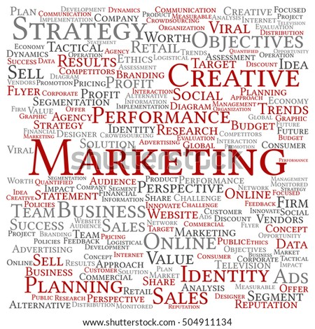 Concept or conceptual business marketing square word cloud isolated on background metaphor to advertising, strategy, promotion, branding, value, performance, planning, challenge or development