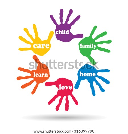 Concept or conceptual circle of colorful hand print word cloud text made by children isolated, white background for paint, handprint, symbol, people, identity, together, friendship, play or fun - stock photo