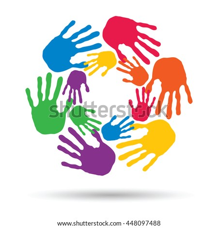 Concept or conceptual circle spiral of colorful hand prints made by children isolated on white background for paint, handprint, symbol, people, identity, together, friendship, play, fun designs - stock photo