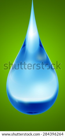 Concept or conceptual clean cold blue rain water liquid drop falling, green gradient  background for nature, wet, purity, splash, fresh, spring, summer, pure, freshness, drink, eco or environment - stock photo