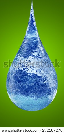 Concept or conceptual clean cold blue rain water liquid drop falling, green gradient  background metaphor to nature, wet, purity, splash, fresh, spring, summer, pure, freshness, drink, eco environment - stock photo