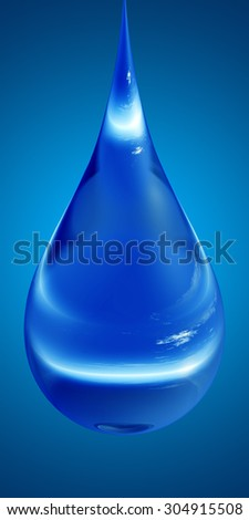 Concept or conceptual clean cold rain water liquid drop falling, blue gradient  background for splashing, palm, clear, purity, freshness, nature, clean, health, rain, environment, drinks - stock photo