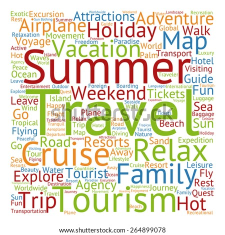Concept Or Conceptual Colorful Travel Tourism Text Word Cloud Tagcloud Isolated On White Background