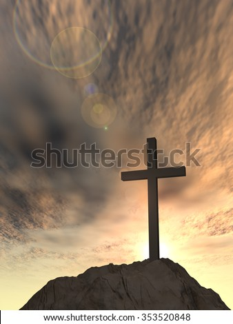 Concept or conceptual cross religion symbol shape over sunset sky with clouds background metaphor to God, Christ, Christianity, lige, religious, faith, holy, spiritual, Jesus, belief or resurection