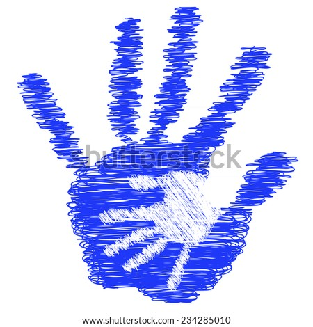 Concept or conceptual cute blue drawing paint hands of mother and child isolated on white for art, care, childhood, family, fun, happy, infant, symbol, kid, little, love, mom, motherhood or young - stock photo