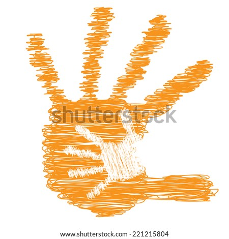 Concept or conceptual cute drawing paint hands of mother and child isolated on white for art, care, childhood, family, fun, happy, infant, symbol, kid, little, love, mom, motherhood or young - stock photo