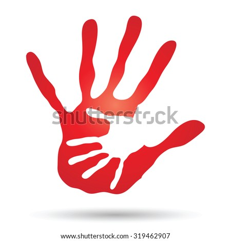 Concept or conceptual cute paint hand of mother child isolated on white background for art, care, childhood, family, fun, happy, infant, symbol, kid, little, love, mom, motherhood, young design