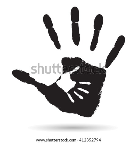 Concept or conceptual cute paint hand of mother child isolated on white background for art, care, childhood, family, fun, happy, infant, symbol, kid, little, love, mom, motherhood, young design - stock photo