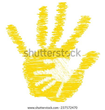 Concept or conceptual cute yellow drawing paint hands of mother and child isolated on white for art, care, childhood, family, fun, happy, infant, symbol, kid, little, love, mom, motherhood or young - stock photo