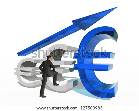 Concept or conceptual 3D blue glass euro symbol with arrow pointing up isolated on white background with businessman as a metaphor for business,finance,money,growth,success,stock,currency or economy