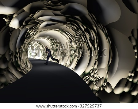 Concept or conceptual 3D business man, dark road tunnel with bright light at the end background metaphor to hope, freedom, exit, life, faith, speed, dream, success, vision, future, fear or salvation