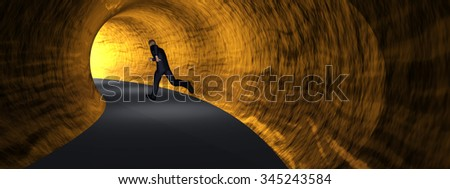 Concept or conceptual 3D business man, dark road tunnel with bright light at the end background banner - stock photo