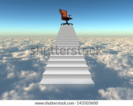 Concept or conceptual 3d chief chair on top of white stair rising above the clouds and sky background,metaphor to success,progress,achievement,growth,career,business,education,rise,goal,win or future - stock photo