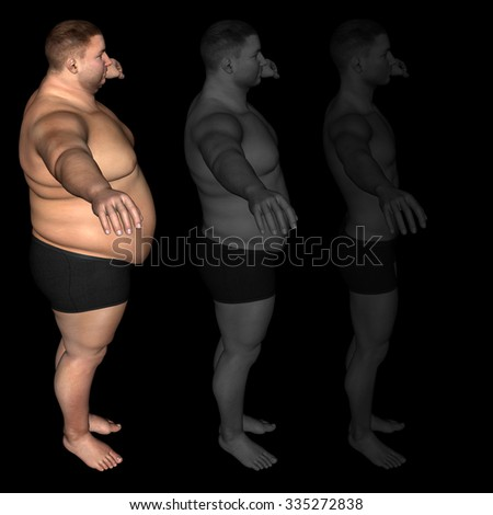 Concept or conceptual 3D fat overweight vs slim fit diet with muscles young man isolated on black background for weight loss, body, fitness, fatness, obesity, health, healthy, male, dieting or shape - stock photo