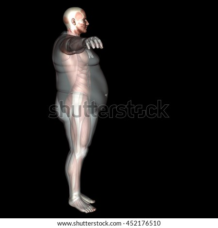 Concept or conceptual 3D fat overweight vs slim fit diet with muscles young man isolated on black background  for weight loss, body, fitness, fatness, obesity, health, healthy, male, dieting shape - stock photo
