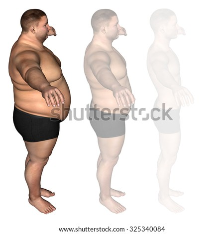 Concept or conceptual 3D fat overweight vs slim fit diet with muscles young man isolated on white background metaphor weight loss, body, fitness, fatness, obesity, health, healthy, male, dieting shape