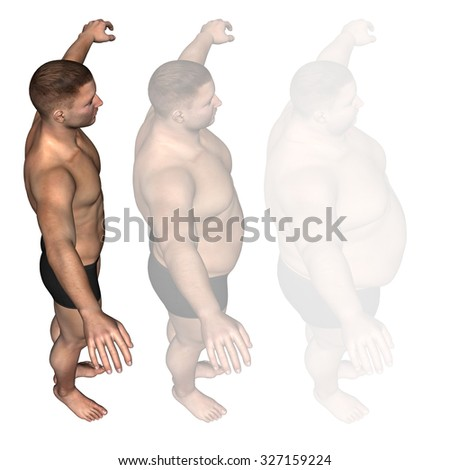 Concept or conceptual 3D fat overweight vs slim fit diet with muscles young man isolated on white background metaphor weight loss, body, fitness, fatness, obesity, health, healthy, male, dieting shape - stock photo
