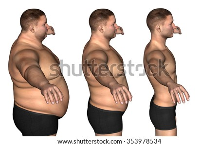 Concept or conceptual 3D fat overweight vs slim fit diet with muscles young man isolated on white background  for weight loss, body, fitness, fatness, obesity, health, healthy, male, dieting or shape - stock photo