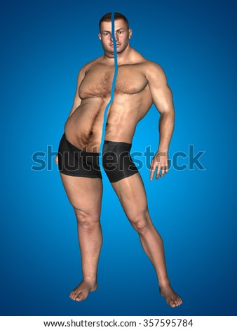 Concept or conceptual 3D fat overweight vs slim fit with muscles young man on diet on blue background metaphor weight loss, body, fitness, fatness, obesity, health, healthy, male, dieting, shape - stock photo