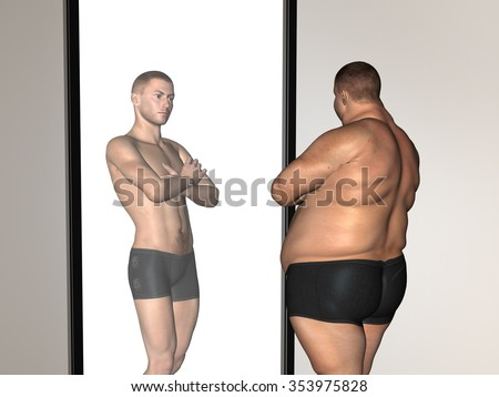 Concept or conceptual 3D fat overweight vs slim fit with muscles young man on diet reflecting in a mirror  for weight loss, body, fitness, fatness, obesity, health, healthy, male, dieting or shape - stock photo