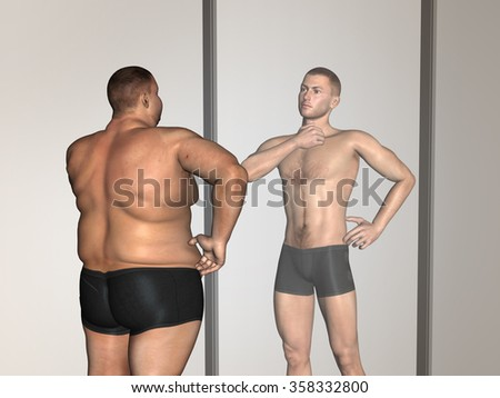 Concept or conceptual 3D fat overweight vs slim fit with muscles young man on diet reflecting in a mirror metaphor weight loss, body, fitness, fatness, obesity, health, healthy, male, dieting, shape - stock photo