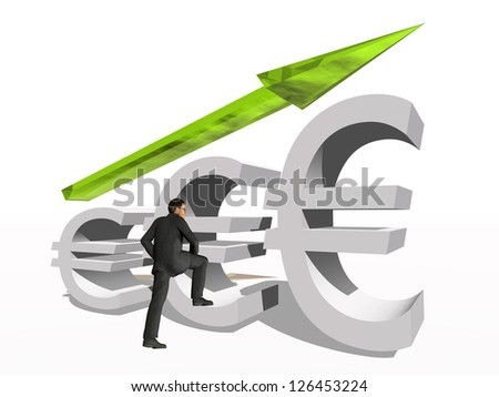 Concept or conceptual 3D green glass euro symbol with arrow pointing up isolated on white background with businessman as a metaphor for business,finance,money,growth,success,stock,currency or economy